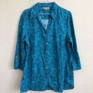 JM Collection Blue Button Down Shirt